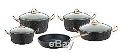 O. M. S AVANGARDE GRANITE 9 Piece Cookware Set Glass Lids Casserole Pan Pot 3037