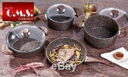 O. M. S. Cookstone 7 Piece Stone Cookware Set Casserole Pan Frying Pan Brown 3028
