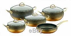 O. M. S. Granite Copper 9 Piece Cookware Set Glass Lids Casserole Dish Fry Pan Pot