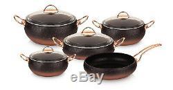 O. M. S. Granite Copper 9 Piece Cookware Set With Glass Lids Casserole Pan Pot