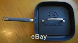 PAMPERED CHEF Executive Nonstick Square Grill Pan & Grill Press Set EUC