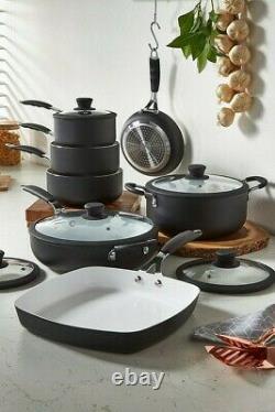 Pan Set 7 Piece Professional Black Cookware Saucepan Frying Non Stick Cooking