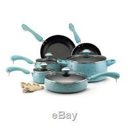 Paula Deen Collection Porcelain Nonstick 15-Piece Set, Aqua Speckle 12513