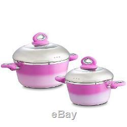 Pink Sets 9 Piece Professional Grade Aluminum Non-Stick Pots & Pans Set Pan Pot