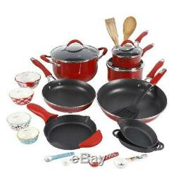 Pioneer Woman Vintage Speckled Cookware Set Cookware Red Kitchen Pots Pans 24-pc