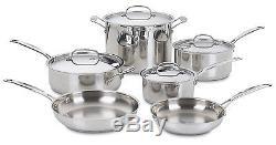Pots Pans Cuisinart 77-10 Chef's Classic Stainless 10-Piece Cookware Pro Set