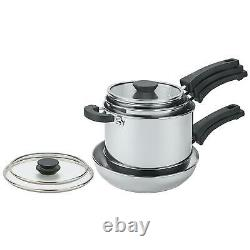 Prestige Prestige Kitchen Hacks Frying Pan & Saucepan 5pc Set Stainless Steel