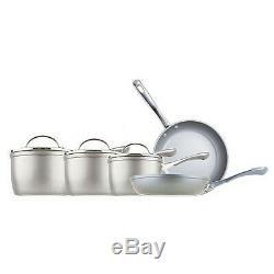 Prestige Prism 5 Piece Metallic Silver Non-Stick Saucepans, Frying Milk Pan Set