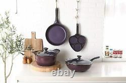 Purplechef Nonstick Cookware Set Stock Pot, Skillet, Frying Pan and Tri-egg Pan