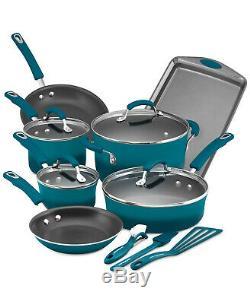 RACHAEL RAY Hard Enamel Cookware Set Nonstick kitchen Pot Pan Utensil 14 PC