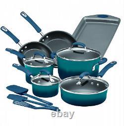 RACHAEL RAY Hard Enamel Cookware Set Nonstick kitchen Pot Pan Utensil Blue 14 PC