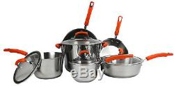 Rachael Ray 10-Piece Stainless Steel Cookware Set Kitchen Pans and Pots 75813