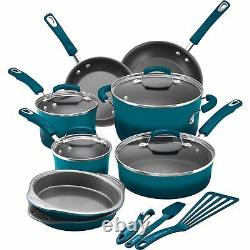Rachael Ray 15-Piece Hard Enamel Nonstick Cookware Set Aluminum Marine Blue