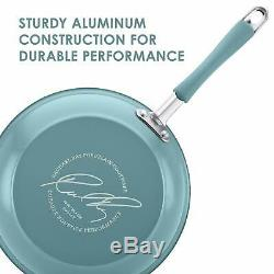 Rachael Ray 16344 Cucina Nonstick Cookware Pots and Pans Set 12 Piece Agave Blue