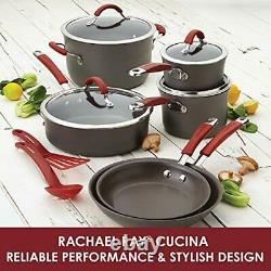 Rachael Ray Cucina Hard Anodized Nonstick Cookware Pots and Pans Set 12 Piece