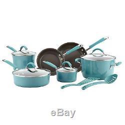 Rachael Ray Cucina Hard Porcelain Enamel Nonstick Cookware Set, 12-Piece, Teal