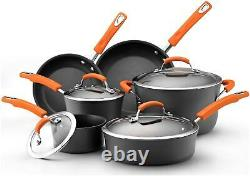 Rachael Ray Hard Anodized II Cookware Set with Orange Handles 10pc