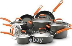 Rachael Ray Hard Anodized II Cookware Set with Orange Handles 14pc