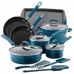 Rachael Ray Marine Blue 14 Piece Enamel Cookware Set