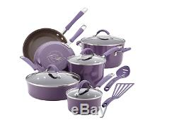 Rachael Ray Nonstick Purple 12 Piece Cookware Set Lids Fry Pans Pots Kitchen NEW