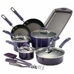 Rachael Ray Purple Gradient 14 Piece Enamel Cookware Set