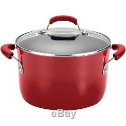 Rachel Ray 12-Piece Aluminum Cookware Set Nonstick Hard Enamel Pots Pans Red New