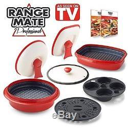 Range Mate Pro Nonstick Microwave 7-Piece Grill Pot/Pan Cookware Set As Seen On