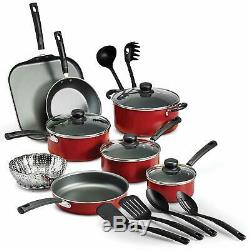 Red Cookware Set Of Pots And Pans Large Cooking 18-Piece Professional Non Stick