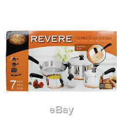 Revere 7 Piece Stainless Steel Copper Bottom Cookware Set Pots and Pans with Lids