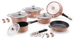 Royalty Line 14 Pcs Die Cast Non-stick Marble Coated Pot Pan Set Rl-1014 Cooper