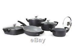 Royalty Line 18pcs Die Cast Non-stick Marble Coated Pan Set