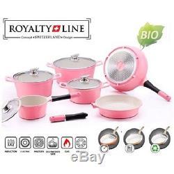 Royalty Line Swiss14-pieces Saucepan + Pan Set Induction Bio Ceramic Non Stick