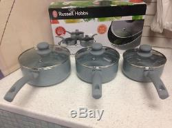 Russell Hobbs Stone Non-Stick 16/18/20cm 3pc Pan Set little or no oil BW03721DB