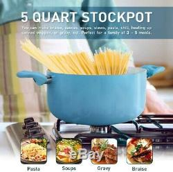 SHINEURI Light Blue 8 Pieces Nonstick Pots and Pans Set Ceramic Cookware