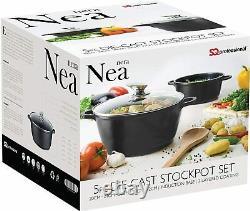 SQ Pro Nea Ceramic Coated Aluminium Die-cast Cooking Casserole set 5 pcs Black