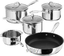 STELLAR 7000 5 Pc Saucepan Set 16/18/20cm & Frypan/Milk Pan Draining S7C1D. +GIFT
