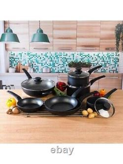 Salter 7 Piece Marble Non-Stick Saucepans, Frying Pans Wok Set Cookware Black