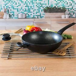 Salter COMBO-4834 Marble Gold Non-Stick Frying Pan, Saucepan & Wok Set, 7 Piece