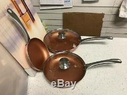 San Ignacio Optimum 5pc Non-Stick Induction Copper Frying Pan Set With Lids