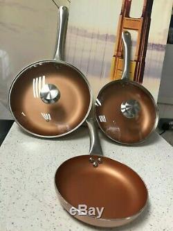 San Ignacio Optimum 5pc Non-Stick Induction Copper Frying Pan Set With Lids -N