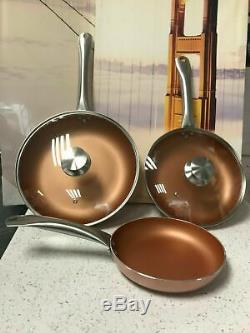 San Ignacio SG691 Optimum Cooper-Set of 5 Pieces 3 Frying Pans 2 Lids-Copper cm