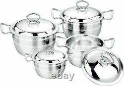 Set of 4 Stainless Steel Non Stick Saucepans Cookware Cooking Pots Pan With Lids