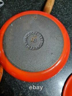 Set of two Le CREUSET cast iron Pans Brand New Size 18 & 20 Volcanic Orange