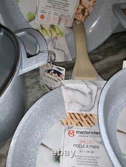 Speckled Blue Silver MasterClass Nonstick 9 Pc Premium Cookware Set 12Casserole