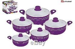Sq Professional 5 Pc Ceramic Coated Non Stick Cooking/Casserole Pot Set Purple