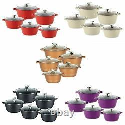 Sq Professional Die Cast 5 Pcs Cooking Pot Set Non Stick Ceramic Coated 8 Color