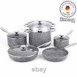 Stone Cookware Set 10 Pcs Ultra Nonstick Pot&Pan Set With Stone Derived Coating