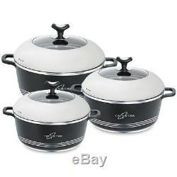 Supreme Non-Stick Die-Cast Pot Pan Cookware Aluminium Casserol Handi 3pcs Set