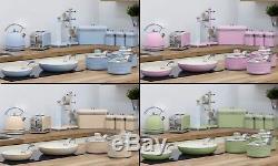 Swan 13-Pc Retro Kitchen Set Four-Slice Toaster, Kettle, 5-Pans & Storage set