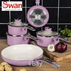 Swan Aluminium Pink Retro 5 Piece Pan Set Non-stick INDUCTION READY